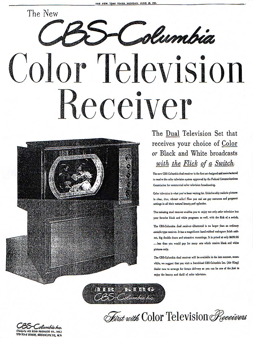 1951 June 25 CBS Color Set NYT Ad