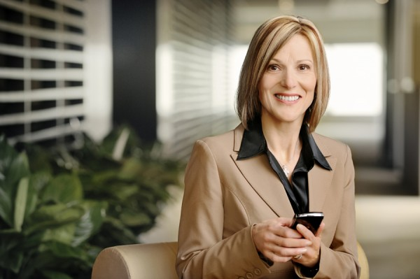 businesswoman working on a mobile device