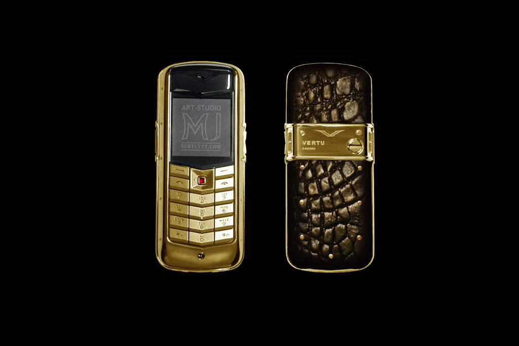 MJ Mobile Phone Vertu Constellation Exotic Leather - Crocodile Black Chocolate, Ruby