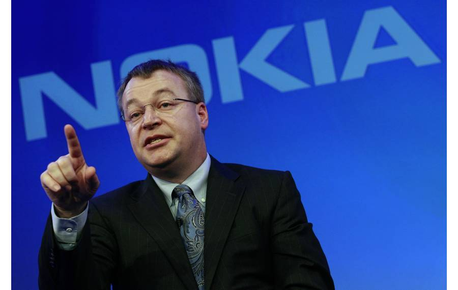 Nokia chief executive Stephen Elop speaks during a Nokia event in London