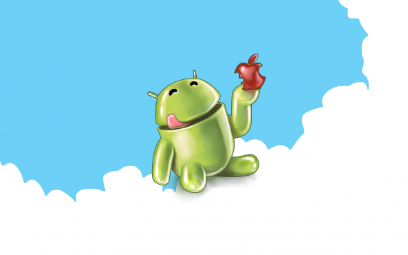 Android-eating-Apple-on-clouds-e1302711856374