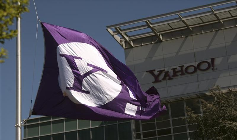 The Yahoo logo is shown at the company's headquarters in Sunnyvale