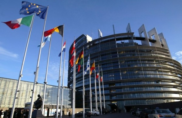 File picture of European Union member states' flags in front of the building of the European Parliament in Strasbourg