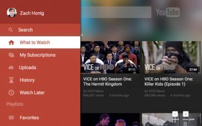 A YouTube frissítette televíziós applikációját