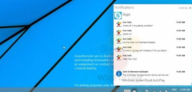 Értesítésközpontot kap az új Windows