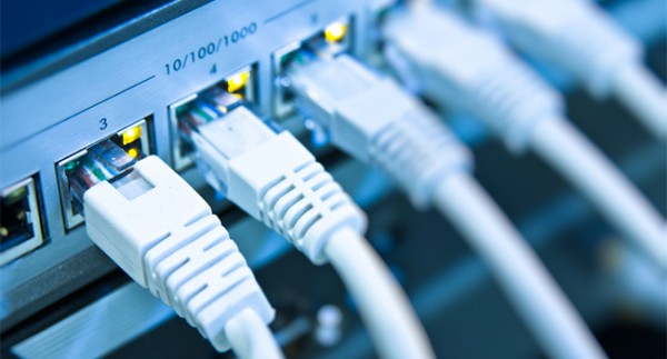 network cables RJ45 connected to a switch