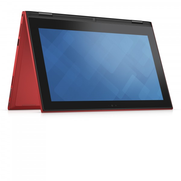 "Dell Inspiron 11 3000 Series (Model 3157) Touch 11-inch 2-in-1 notebook computer with Intel BSW Braswell processor in tablet mode with keyboard in ""tent"" position."