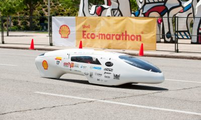 Universite Laval student Mathilde Jean-St-Laurent on the track at Shell Eco-marathon Americas 2011 on Saturday, April 16, in downtown Houston