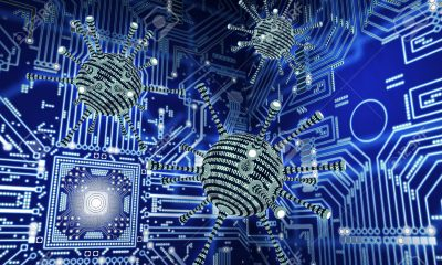 digital safety concept computer virus in electronic environment, 3D illustration
