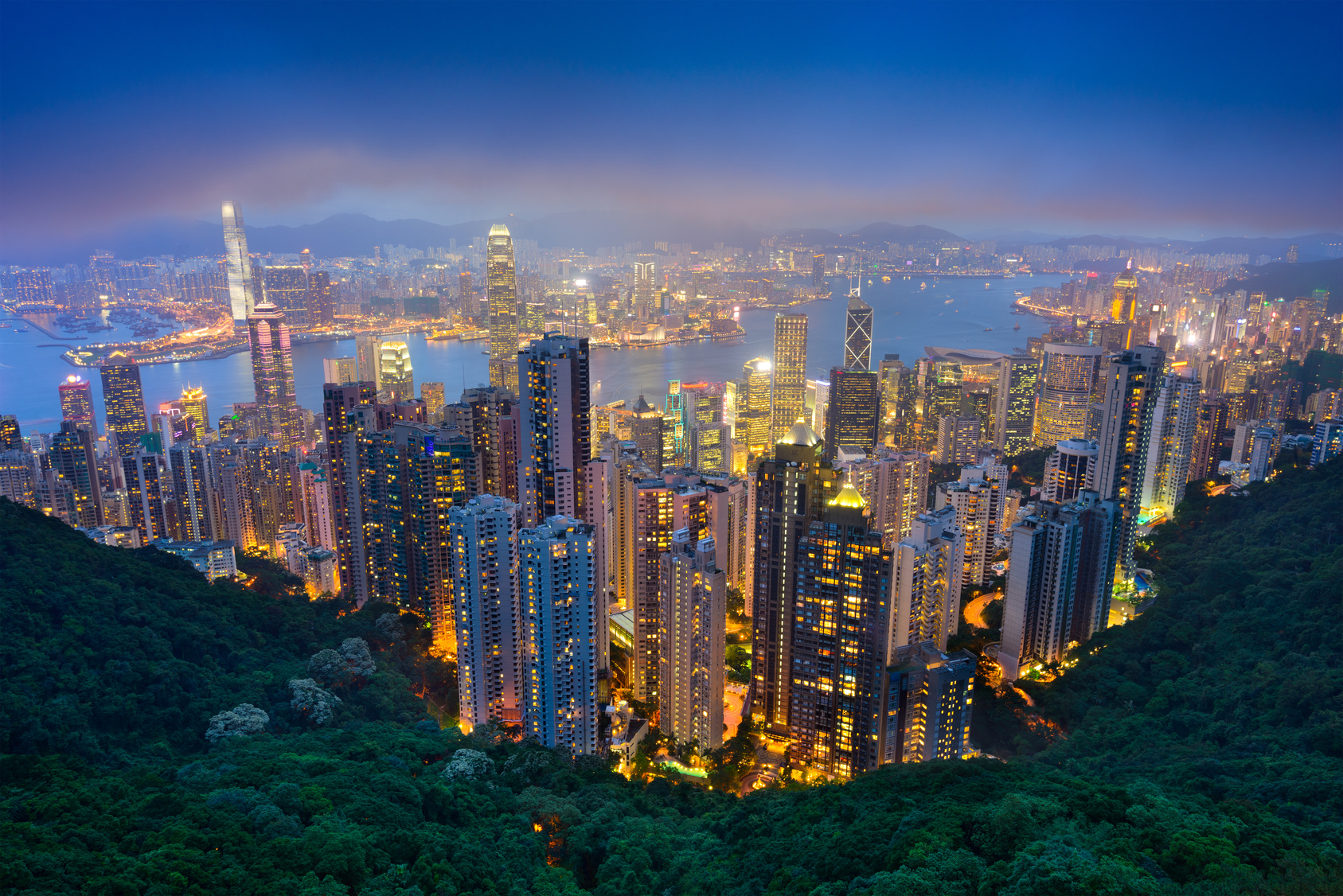 Hong Kong, China skyline from the peak.