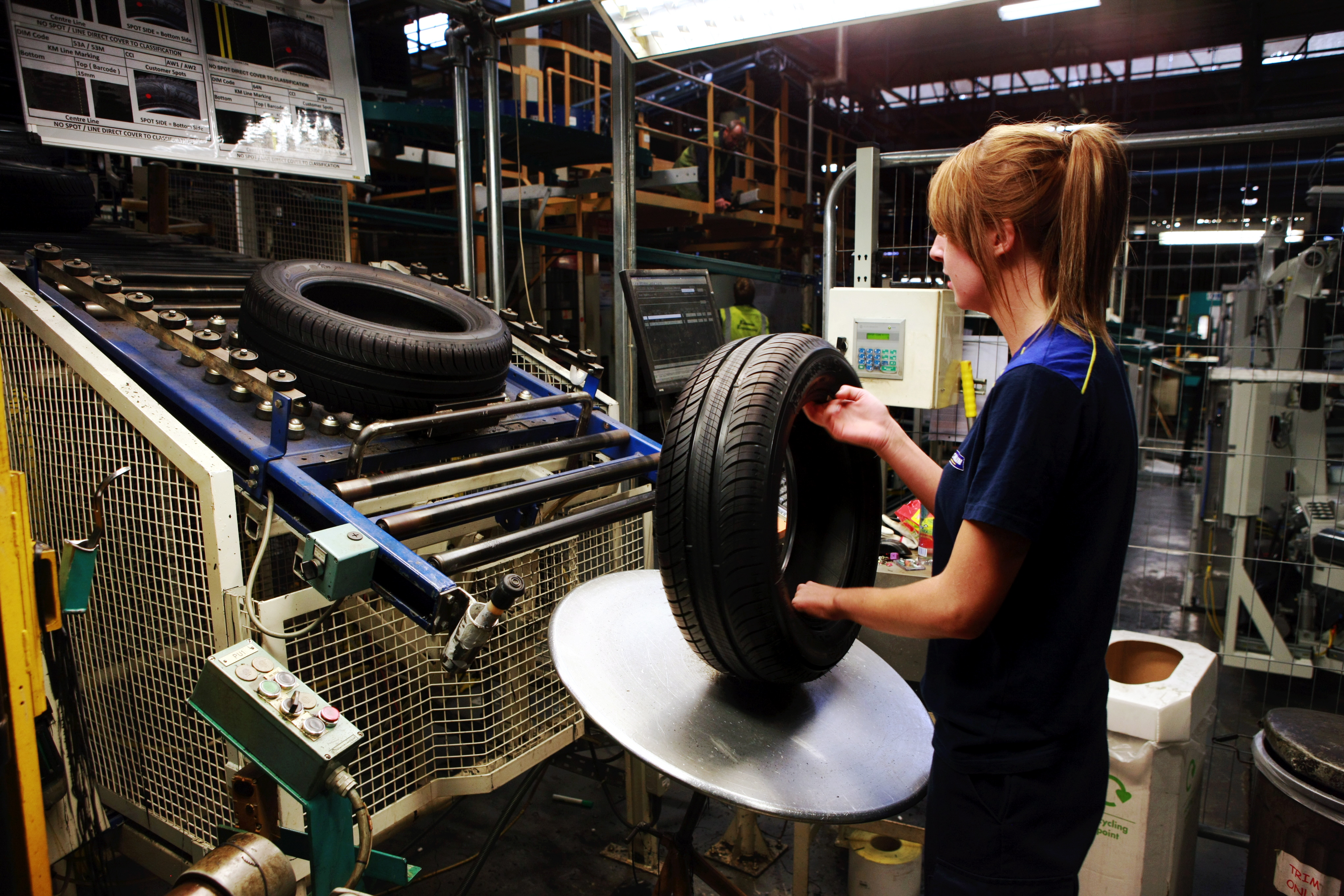 Bob Douglas, Evening Telegraph. Michelin Dundee expansion. Pic shows ? verifying(?) finished tyres . Words by Adam.