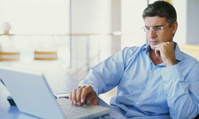 businessman using a laptop in an office