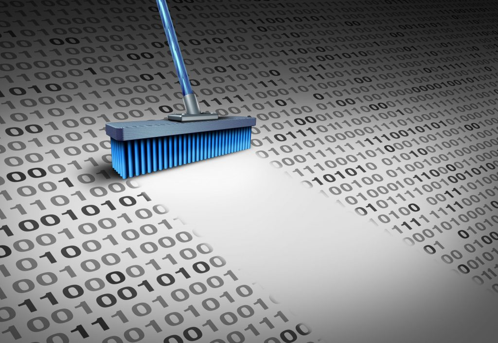 64818638 - deleting data technology concept as a broom wiping clean binary code as a cyber security symbol for erasing computer information or to delete an email and clean a hard drive server with 3d illustration elements.