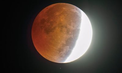 A star shines below the partially eclipsed moon Wednesday morning October 8, 2014 in this picture made through an amateur astronomer's 8-inch telescope at 6:06 a.m.