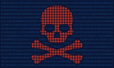 58945174 - computer virus infection skull of death flat illustration for websites