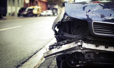 Car crash, selective focus - low-angle view, toned image