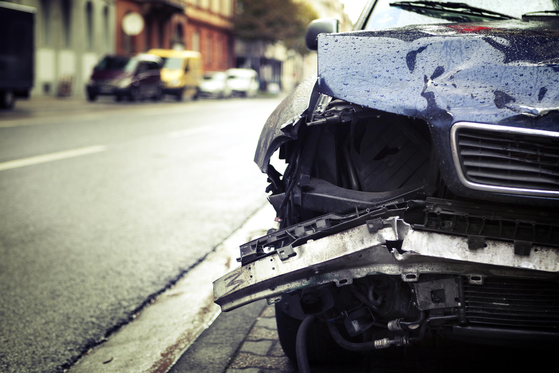 Car crash, selective focus - low-angle view, toned image