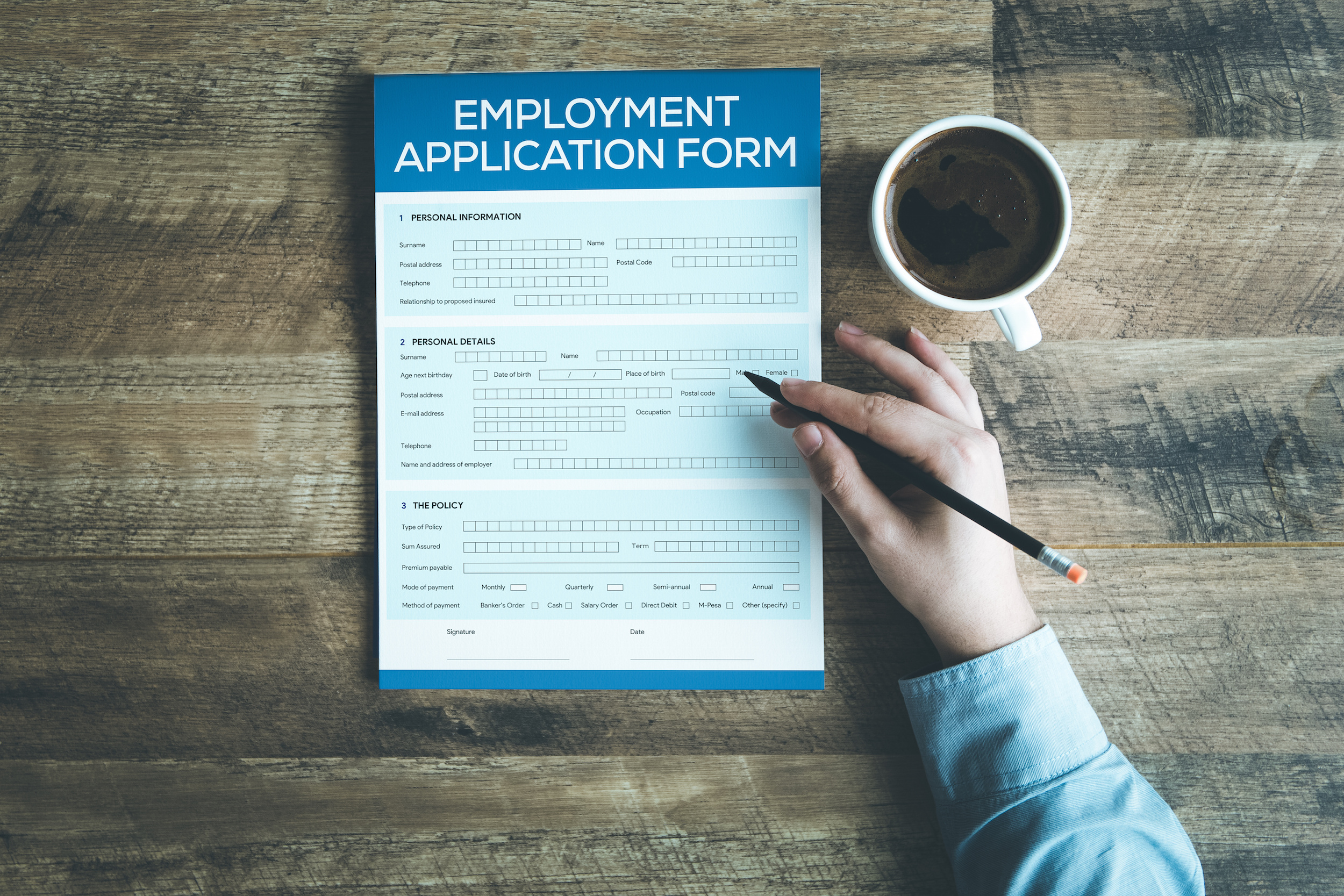 EMPLOYMENT APPLICATION FORM CONCEPT