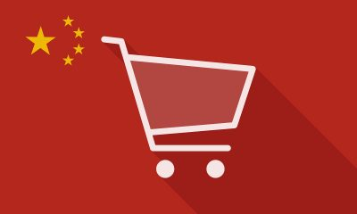Illustration of a China long shadow flag with a shopping cart