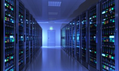 Modern interior of server room in datacenter