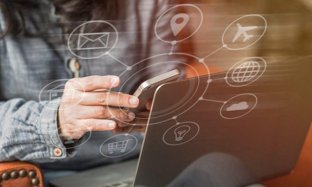 Digital marketing via multi-channel communication network icon on mobile smartphone application technology