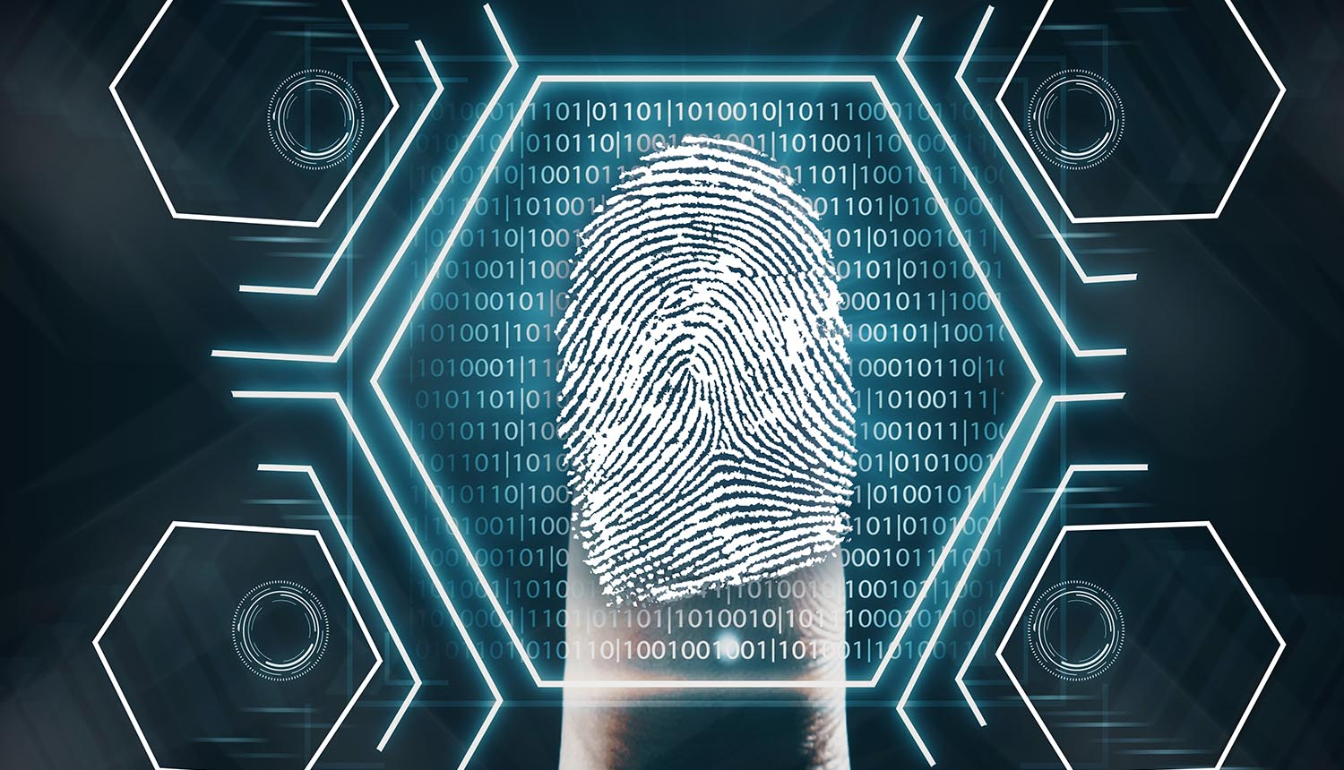 Futuristic fingerprint scanning device biometric security system. Innovation concept. 3D Rendering