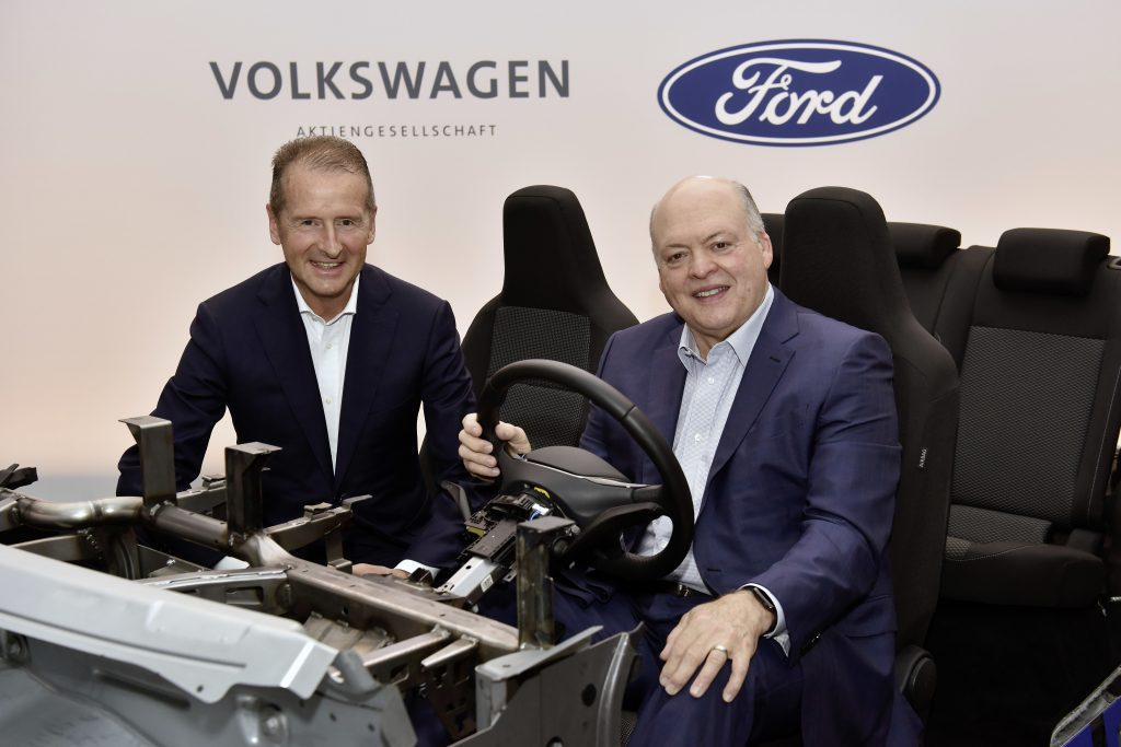 Volkswagen CEO Dr. Herbert Diess and Ford President and CEO Jim Hackett.